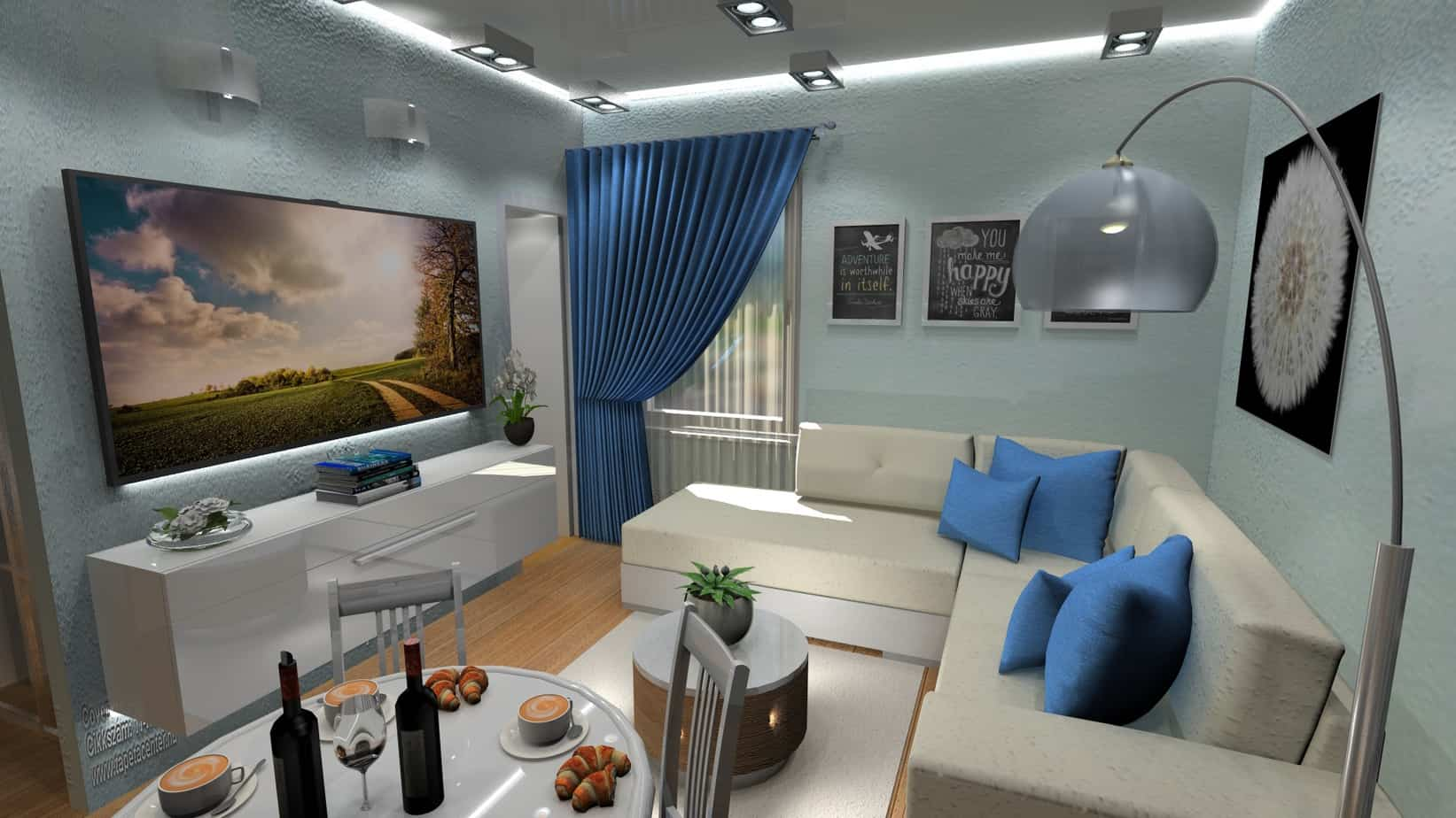 VelvetStudio Belvárosi kislakás Moncsi lakása háló a konyhában nappali kék függönnyel belvárosi kislakás,nappali