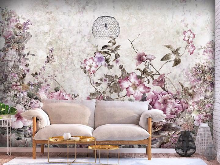 VelvetStudio Lenyűgöző tapéta ötletek a nappaliba virágos tapéta Tapéta ötletek a nappaliba